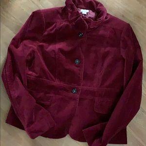 J crew NEW 16 L xl blazer jacket velvet burgundy